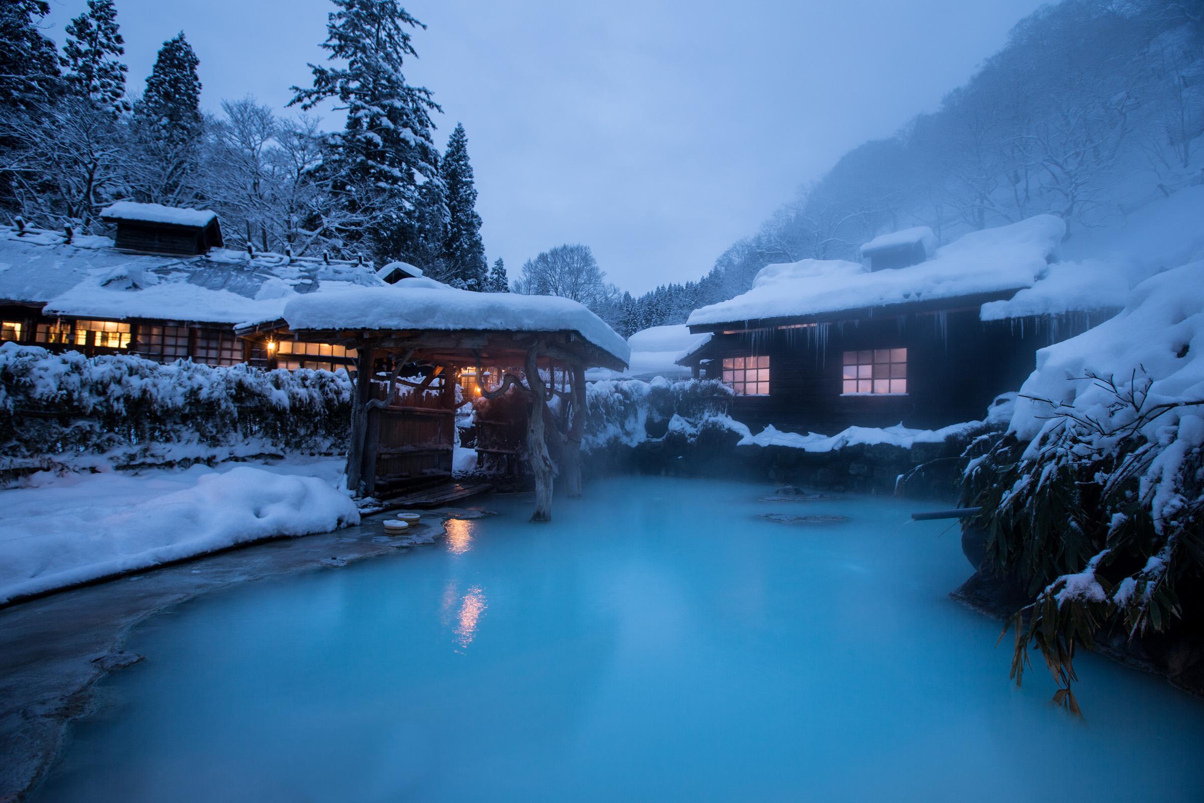 Outdoor Bath at Tsurunoyu Onsen in Nyuto Onsen, Japan Tours, RediscoverTours.com